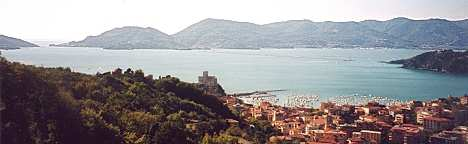 View of the Gulf of Poets from above Lerici