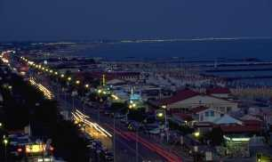 The Coastline of Versilia, at night, from Marina di Massa